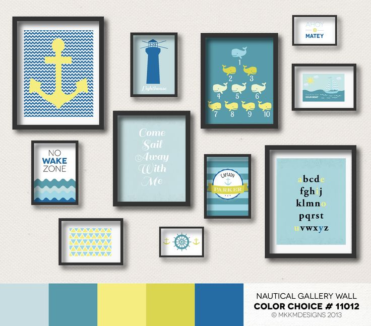 Nautical Nursery Gallery Wall - Color Choice #11012   Yellow, Teals, Blue and Green