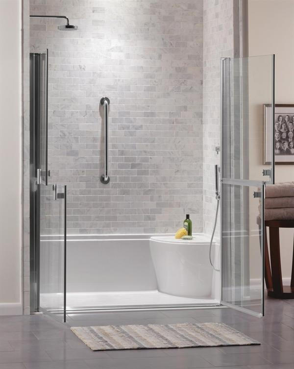 Straight forward tub in shower. Do not like the partitioned doors or the misc hardware.