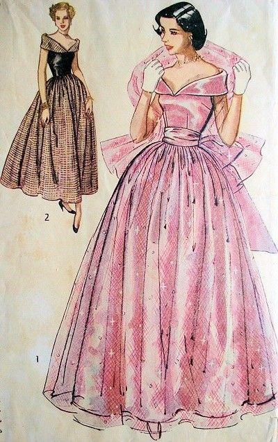 1940s SIMPLICITY 2964 DREAMY PORTRAIT NECKLINE DECOLLETTE BODICE EVENING GOWN, STOLE PATTERN