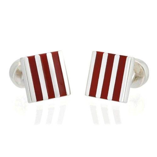 Gemelo cuadrado de plata con rayas rojas. Striped cuff links in silver and red.  #jewelry #jewellery #joyas