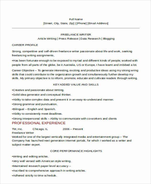 Freelance Writer Resume Sample Fresh 10 Freelance Resume Templates Pdf Doc Freelance Writer Resume Resume Freelance Writer