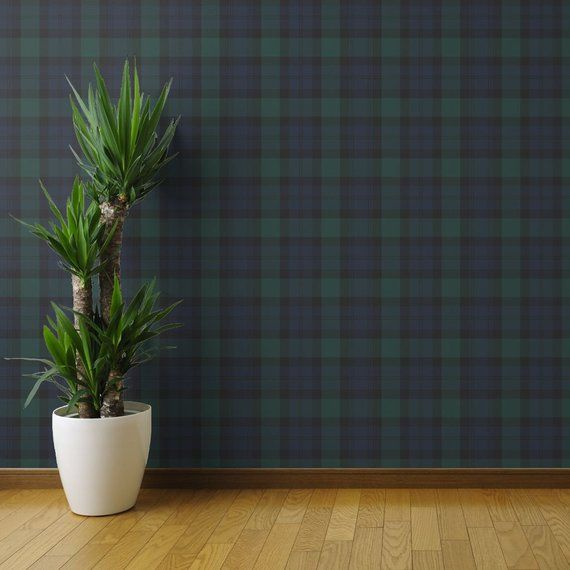 Tartan Wallpaper Blackwatch Traditional By Peacoquettedesigns Green Custom Printed Removable Self Adhesive Wallpaper Roll By Spoonflower Tartan Wallpaper Wallpaper Roll Brick Wallpaper