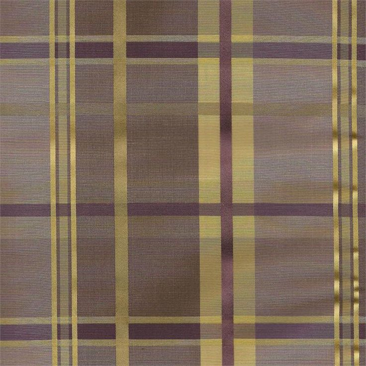Cologne Plaid Faux Silk Fabric In Woodrose Plum Purple And