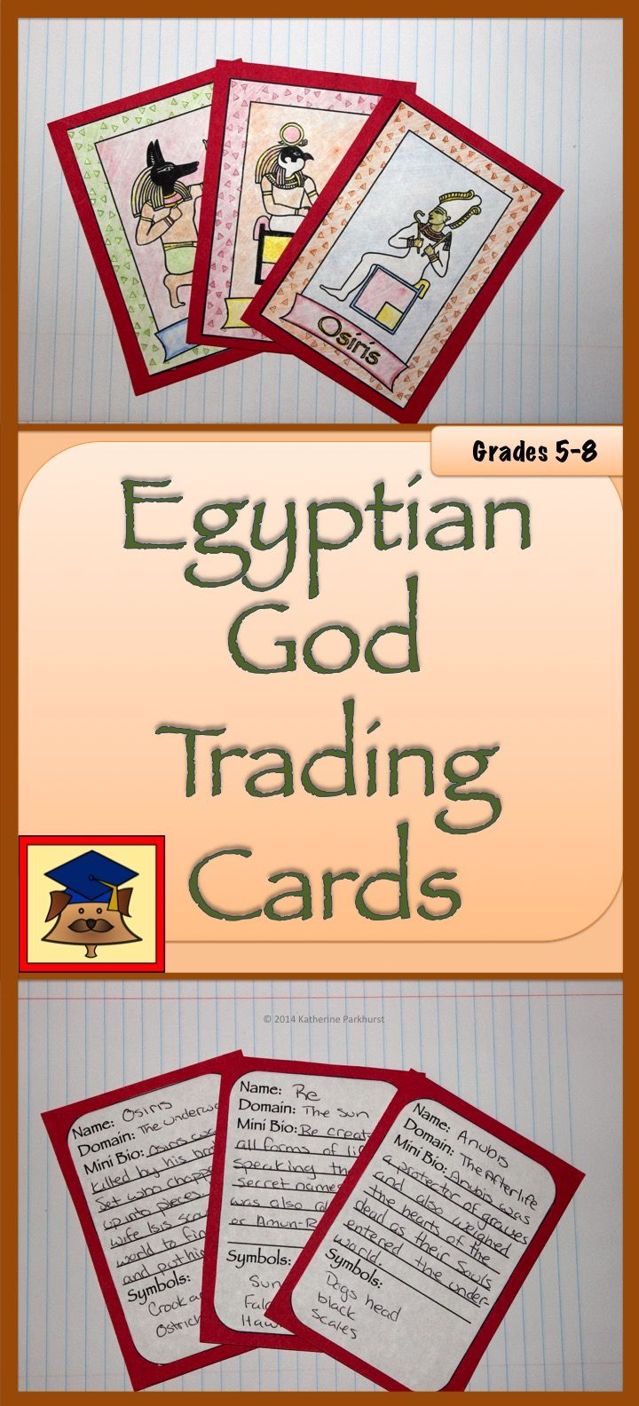 $2.00 Egyptian God Trading Cards is a fun project designed to help students learn about the colorful characters in Ancient Egyptian Mythology. Once students have completed the cards, they are a great way to decorate a classroom or to show at an open house.