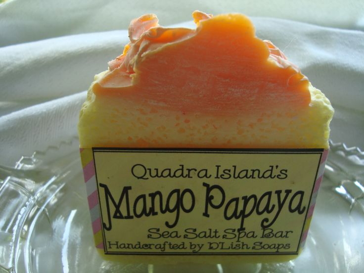 Cost $5.  Our handmade soap bars are fabulous; now add sea salt and you have a wonderful treat for your skin! This sea salt spa bar is incredibly exfoliating and loaded with avocado oil, castor oil, shea butter and moisturizing golden olive oil. It is made of 50% organic sea salt and is an hard and long lasting bar. Juicy mango meets sweet, succulent papaya. Top notes of mango, citrus and pineapple. Heart notes of peach, papaya and classic jasmine. Powder, musk and coconut at the base..