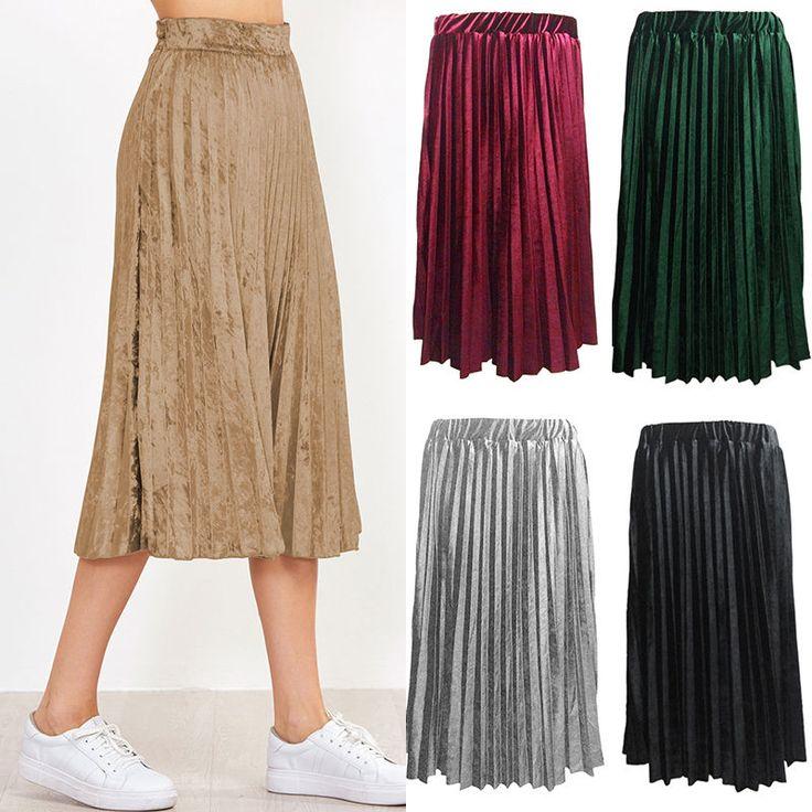 Fashion Women Summer Beach Long Elastic Waist Pleated Skirts Maxi Boho Skirts