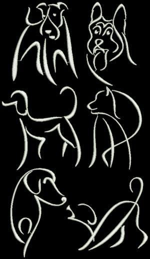 Advanced Embroidery Designs - Dog Silhouette Set.
