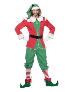 Herenkostuum Kerst Elf Rood/Groen