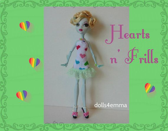 OOAK Monster High Doll Clothes  Hearts DRESS & by DOLLS4EMMA