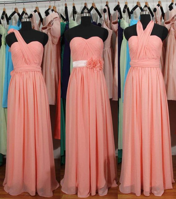 Peach Pink Bridesmaid Dress Long Pink Convertible by harsuccthing