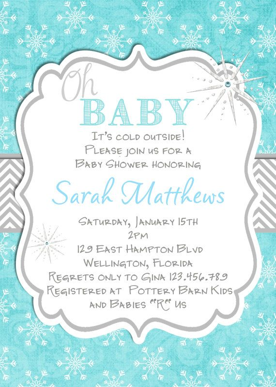 Oh Baby Winter Baby Shower Invitation Printable by 3PeasPrints