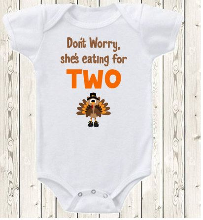 Thanksgiving Pregnancy Announcement Idea ONESIE ® brand bodysuit or shirt She's eating for two funny fall pregnancy reveal, new baby by The1stYearBaby on Etsy