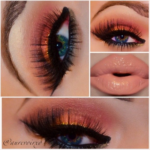 Never thought I'd like orange eyeshadow, but I love this! It looks great with the nude lip, too. Not sure about the heavy eyeliner.