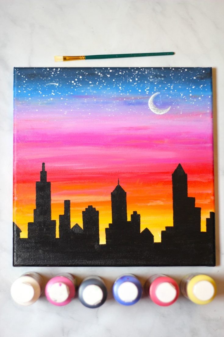 How To Paint A Sunset Cityscape For Beginners Easy Diy Art Painting Canvas Small