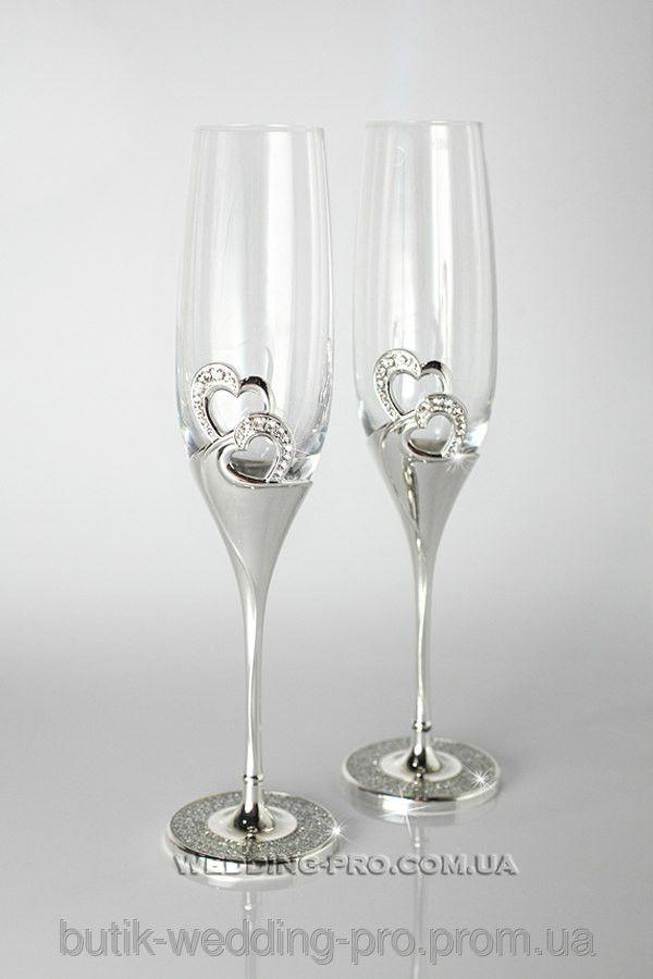 Свадебные бокалы  2 сердца. Вся ножка украшена камнями Swarovski, фото 2