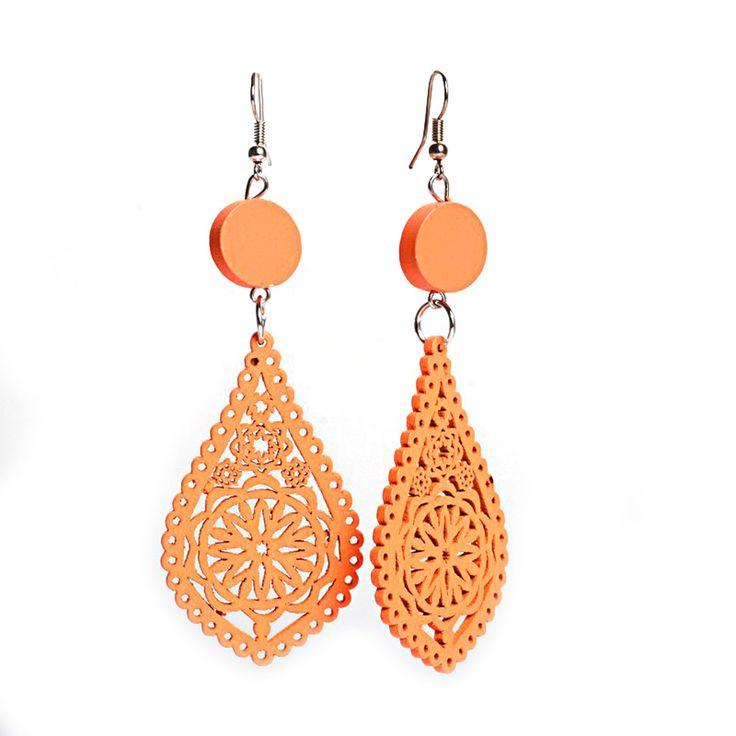 Orange filigree teardrop artistic cut out design wooden dangle earrings
