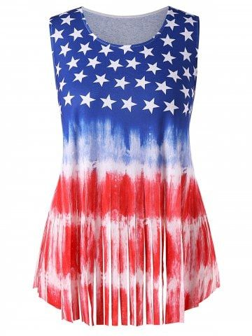 bef56fa5674 Shop for Multi 5x Plus Size Fringed Patriotic American Flag Tank Top online  at  20.71 and discover fashion at RoseGal.com Mobile