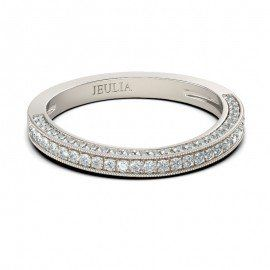 Jeulia 0.60ct  Round Cut  Created White Sapphire Pave Wedding Band
