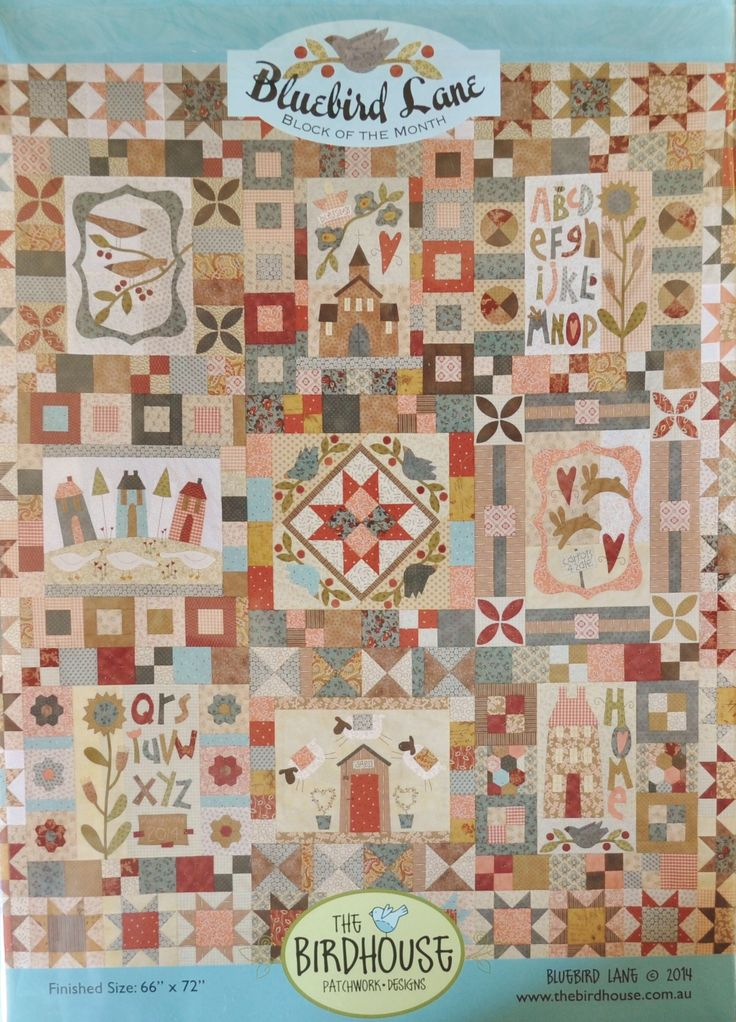 """'Bluebird Lane' is a beautiful quilt! This is a Block-of-the-Month pattern set designed by Natalie Bird of The Birdhouse Patchwork Designs - Finished quilt size about 66"""" by 72"""" - BOM PATTERN SET price $50 :)"""