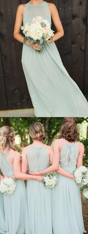 » Sheath Round Neck Open Back Mint Long Bridesmaid Dresses Under 100 BD0908002