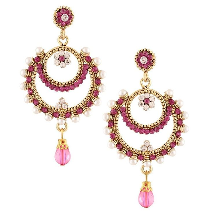 Traditional Purple Stone Gold Plated White pearl Bollywood Drop & Dangle Earring #natural_gems15