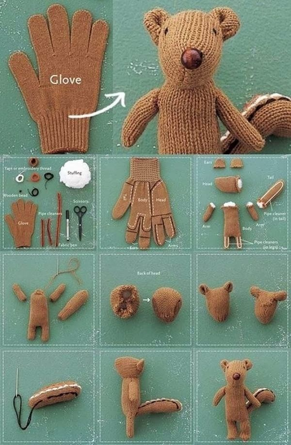 How to Make a Chipmunk Softie from Old Glove