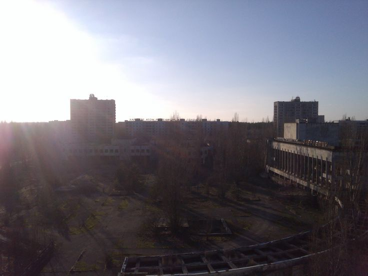 """Central Pripyat as seen from the """"Polissya"""" hotel observation deck."""