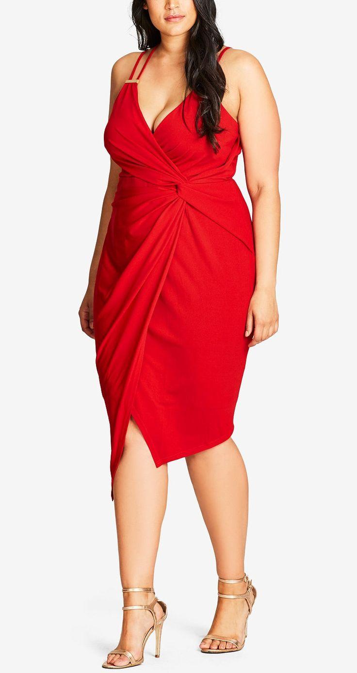 Plus Size Faux-Wrap Bodycon Dress