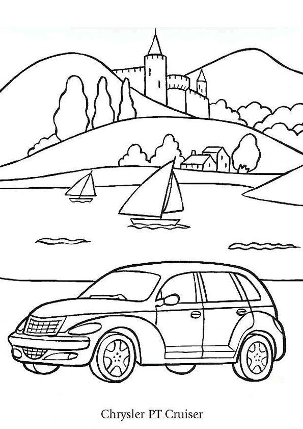 A colorier selon son imagination, une voiture Chrysler PT Cruiser devant une plage de lac