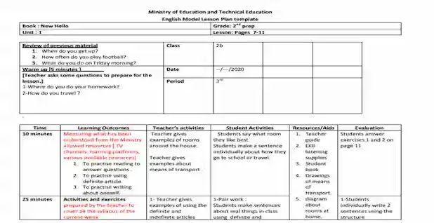 التحضير الالكترونى لمادة اللغة الانجليزية للصف الثانى الاعدادى 2021 ترم اول Ministry Of Education How To Plan New Books