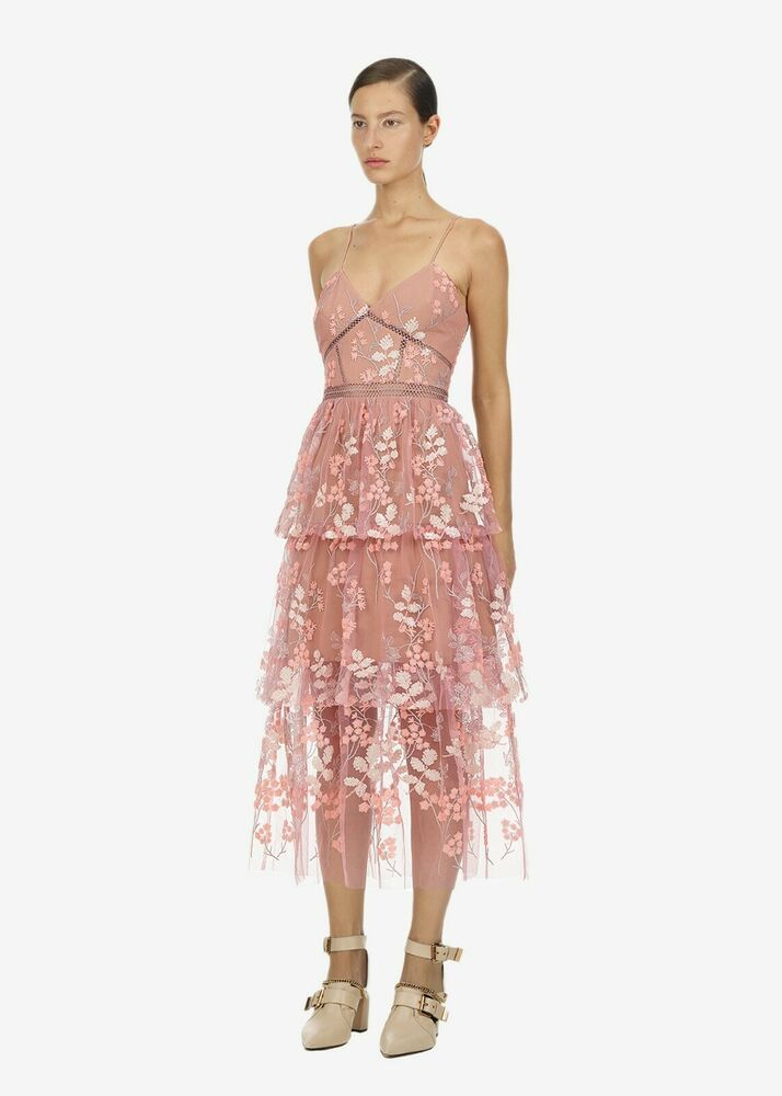 f2d66c9bcb8a NWT Authentic Self Portrait pink floral embellished midi dress - UK6  #fashion #clothing #shoes #accessories #womensclothing #dresses (ebay link)
