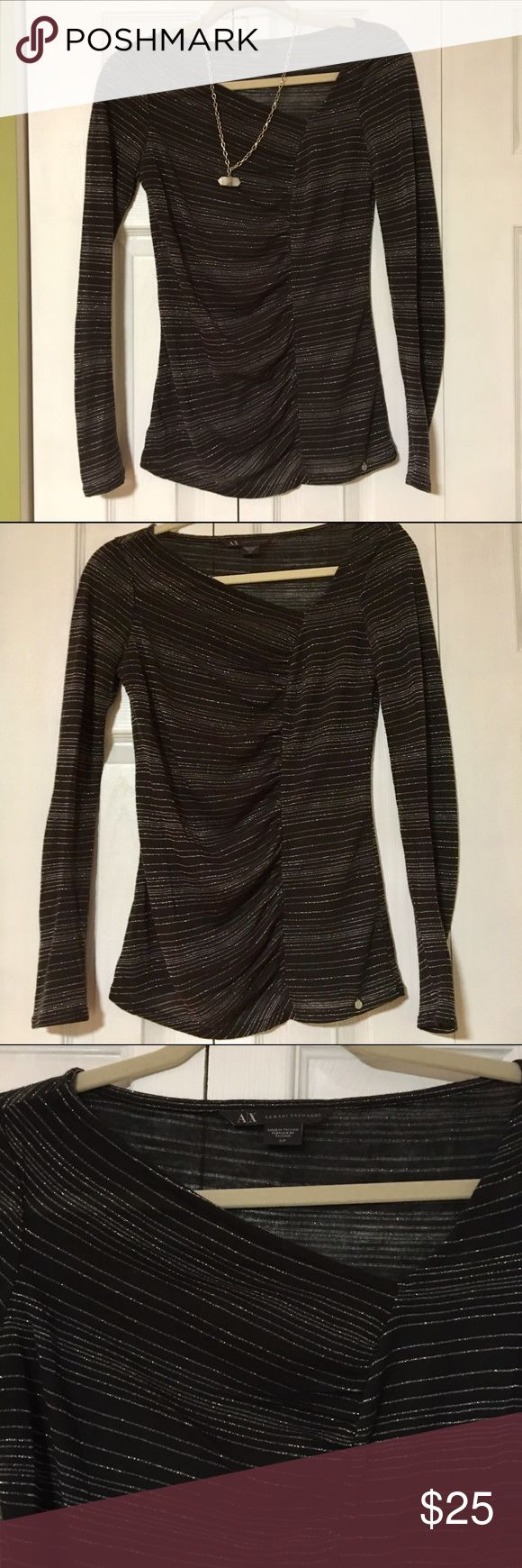 Armani exchange top Asymmetrical neckline with slight gather down front. Silver striped pattern throughout. Small A|X charm on bottom. EUC.  💸 Reasonable offers considered.  ↘️ Use OFFER button.   🚫 NO TRADES! ⚡️Fast Shipper! A/X Armani Exchange Tops Tees - Long Sleeve