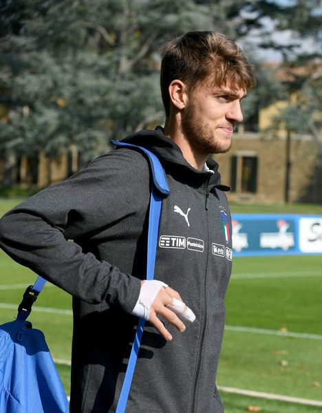 Daniele Rugani of Italy looks on during a training session at Italy club's training ground at Coverciano on October 2, 2017 in Florence, Italy.