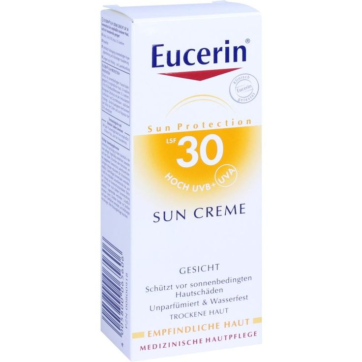 EUCERIN Sun Sonnencreme für das Gesicht LSF 30:   Packungsinhalt: 50 ml Creme PZN: 00800918 Hersteller: Beiersdorf AG Eucerin Preis:…