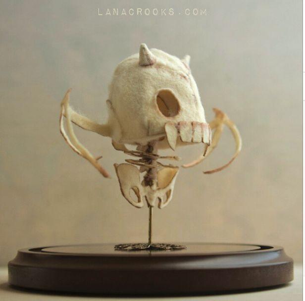 """""""Little Devil"""" wool specimen - #lanacrooks #fiberart #skeleton"""