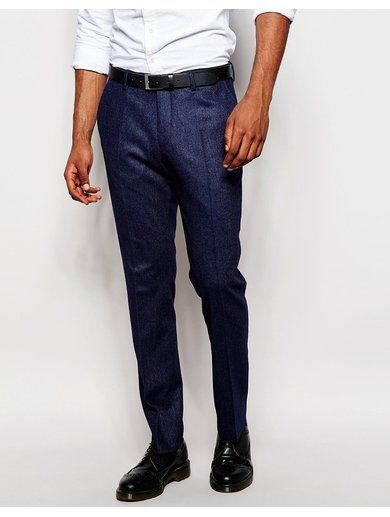 River Island Wool-Blend Slim Fit Suit Trousers - Navy
