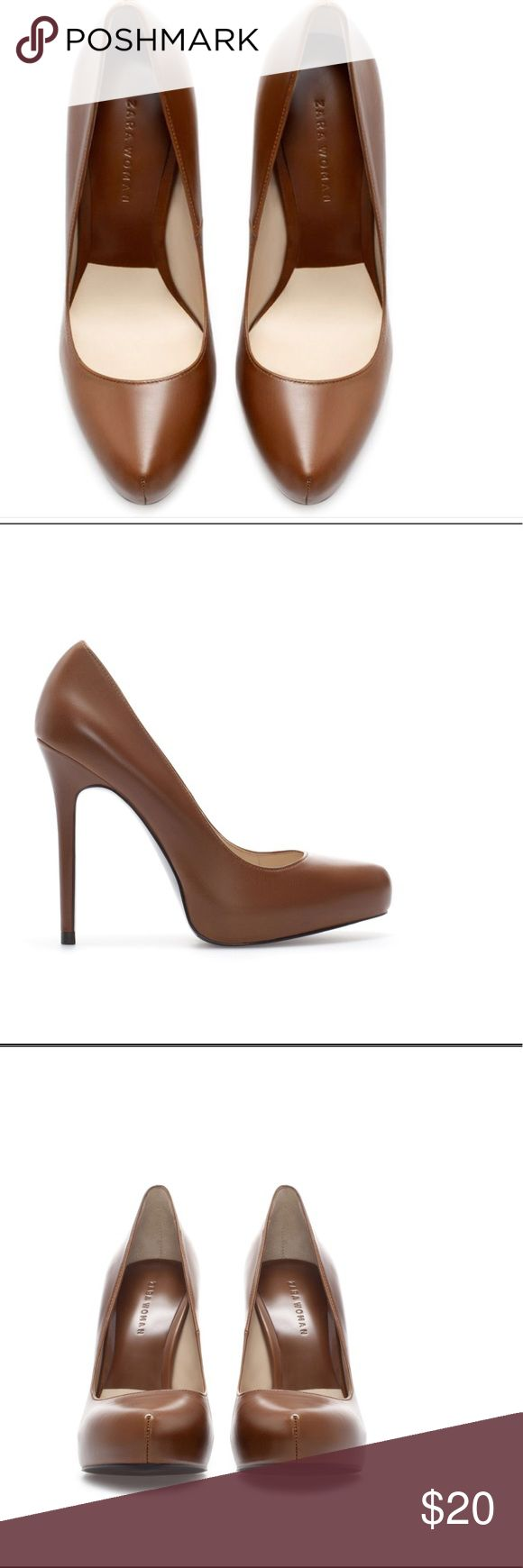 Zara Brown Court Shoe Pre-loved Zara Leather platform court shoe. Zara Shoes Heels