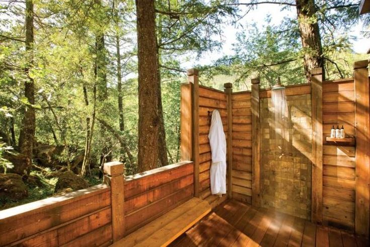 This secluded 8-x14-foot shower is built from cedar and features Butler and Mill fixtures