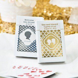 Personalized Metallics Collection playing cards favors - Your guests will be delighted to receive a classy deck of playing cards at your next event. The personalized label is certain to remind them of your special day every time they sit down to play a game. http://www.favorfavor.com/page/FF/PROD/6769SM