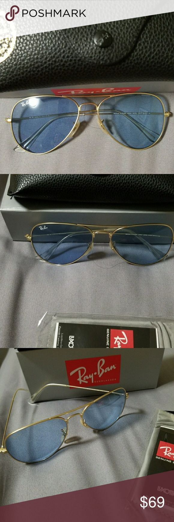 Ray ban aviator  cristal blue 3025 Ray ban aviator cristal blue Rb 3025 Frame cold Made in Irak y Size 58mm Brand new with Box and cleaning  cloth Ray-Ban Accessories Sunglasses