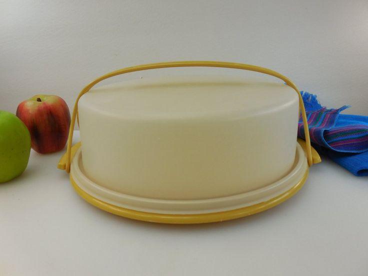 Tupperware Vintage Pie/cake Keeper Tote Taker Carrier - Harvest Gold 719 720 721