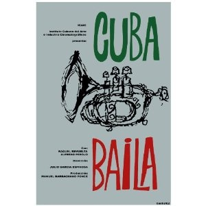 """Love the font here. Very Hitchcockian.     11""""x 14"""" Poster. """" Cuba Baila """". ICAI. Cuban Decor with Unusual images. Great Cuban Room art Decoration."""