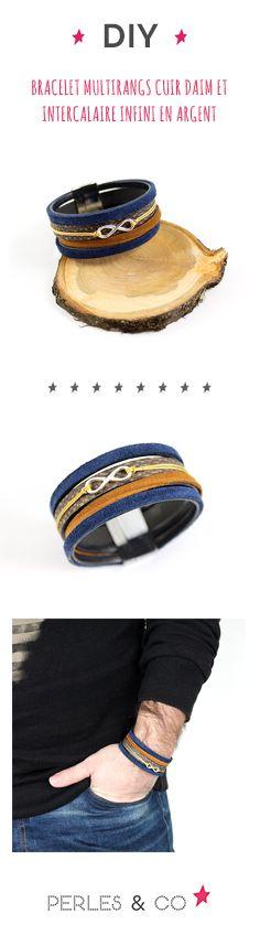 Comment réaliser un bracelet multirangs pour homme en cuir ? Idée cadeau DIY pour homme : créez ce bracelet multirangs en cuir et daim avec un intercalaire infini en argent 925 facilement en suivant ce tutoriel. Rapide et facile à réaliser, c'est le cadeau idéale que vous pourrez personnaliser pour s'adapter à n'importe quel look.  #diy #bracelet #homme #multirangs #bijou #tuto #tutoriel
