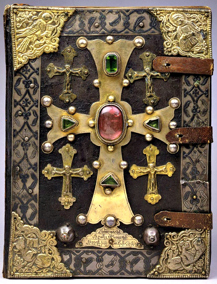 T'OROS ROSLIN GOSPELS (1262, Medieval, High Middle Ages). T'oros Roslin (Scribe & Artist. Armenia, active 1256-1268). Treasure Binding. Parchment bound between brown stamped moroccan leather with engraved and nielloed silver and jewels. More on the artist: http://en.wikipedia.org/wiki/Toros_Roslin The Walters Art Museum, BALTIMORE, MARYLAND. Photo enhanced to show detail. -pfb.  Pin from the source. Promote your blog in the caption. Ethics & Integrity aren't just words.