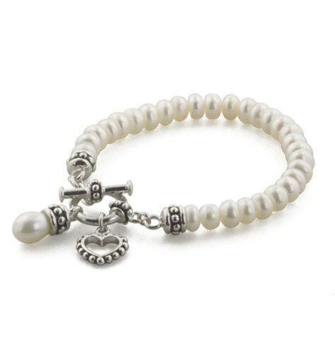 Honora Sterling Silver Little S White Freshwater Cultured Pearl Bracelet With Toggle Clasp 6 Inches