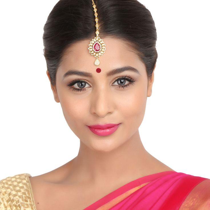 Zircon Tikka 58584R #Kushals #Jewellery #FashionJewellery #IndianJewellery  #WeddingAccessories #Maang Tikka #Zircon