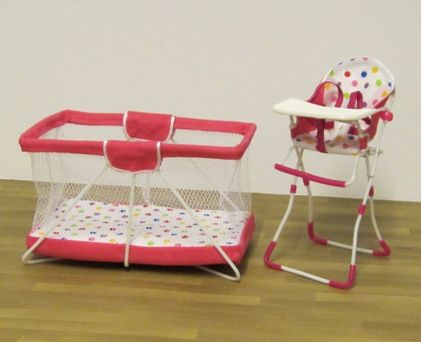 Designer playpen/travel cot & high chair - pink | ELF Miniatures
