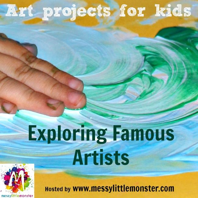 Exploring famous artists with kids.  A series of art projects inspired by artists. Suitable for kids of all ages from toddlers/ preschoolers upwards.