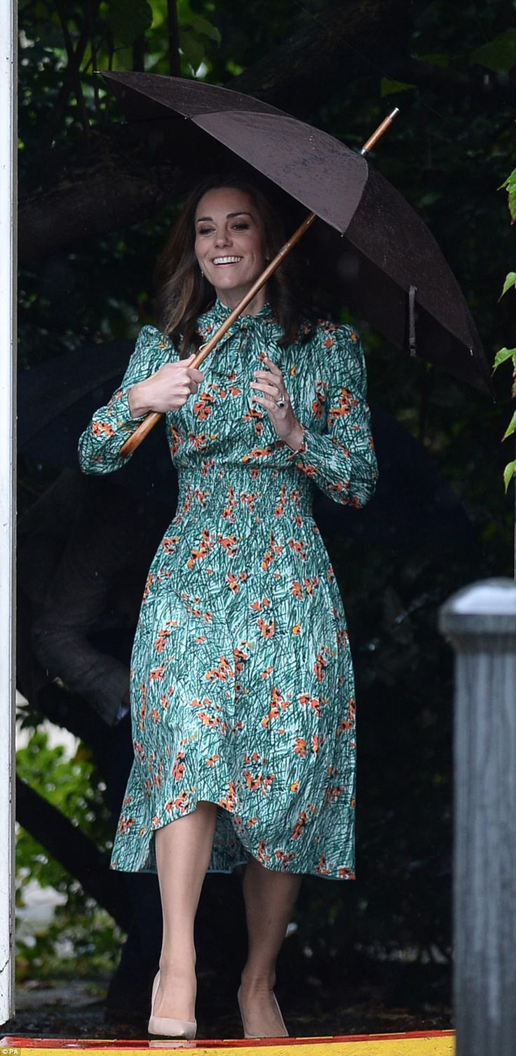 Kate was all smiles as she braved the London rain last Wednesday but is now feeling unwell