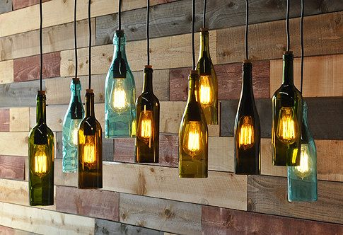 Recycled bottle chandelier The Napa van MoonshineLamp op Etsy, $1190.00